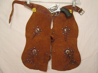 New Vintage Kids S - M Western Cap Gun & Chaps Set Steer USA Made Leather Suede
