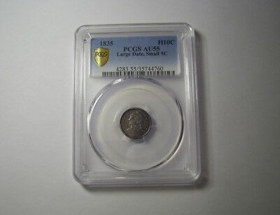 1835 Half Dime AU55 by PCGS Capped Bust Excellent silver Coin Rare