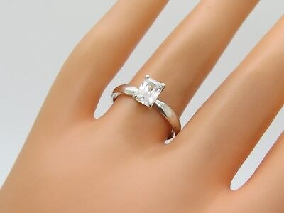 Vintage Emerald Cut Clear CZ Crystal Solitaire Sterling Silver Size 9 Ring E361