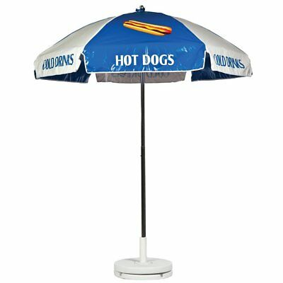 Hot Dog Vendor Cart Concession Umbrella Blue & White With Tilt