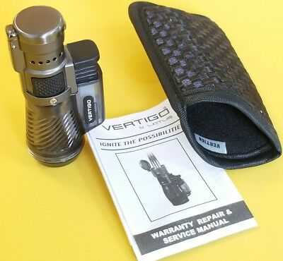 Vertigo Lotus Cyclone Triple Torch Lighter Clear Smoked + Pouch New