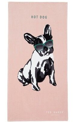 Ted Baker London Hot Dog French Bulldog Beach Towel Limited Edition Pink NWT