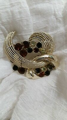 BEAUTIFUL Gold Tone And Multi Colored Stone Brooch. A Must See!