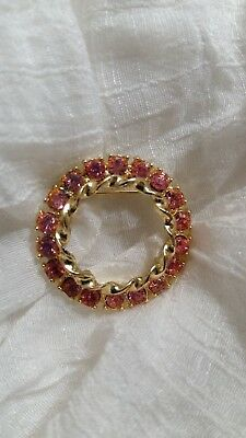 BEAUTIFUL Gold Tone And Pink Stone Round Brooch. A Must See!