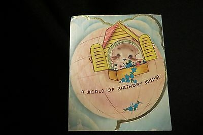 Vintage World Map Kitten Birthday Card 1940S By: Marchant