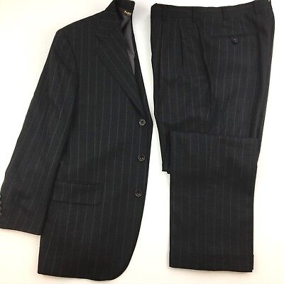 Paul Stuart Mens Suit size 38R Wool Stripe Side Vents Dark Gray 30W Japan EUC