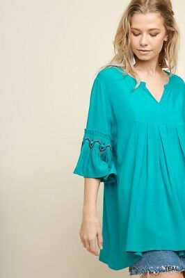UMGEE Teal V-Neck Floral Embroidered Sleeve Top USA Boutique