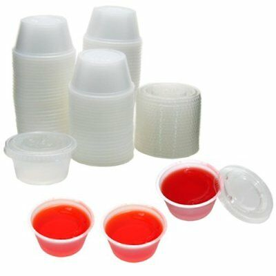2oz Large Jello Jelly Shot Souffle Portion Cups with Lids Option, Clear Plastic