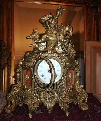 Luxury Antique Vintage Imperial Mantel Clock Brass & Marble Germany Franz Hermle