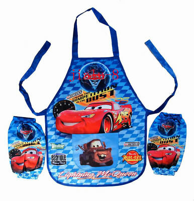 Kids Young Boy Cartoon Cars Children Bento Painting Cooking Apron + 2 sleeves
