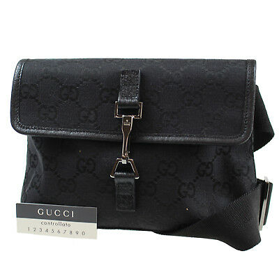 f5f479feb158 GUCCI GG Canvas Fanny Pack Waist Pouch Bag Black Italy Vintage Authentic  #N117 Z