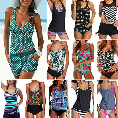 Women's Tankini Bikini Set Push up Padded Sporty Swimsuit Bathing Suit Swimwear