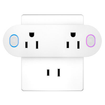 Dual WiFi Smart Plug Socket Swtich / Outlet For Alexa Echo Google Control Remote