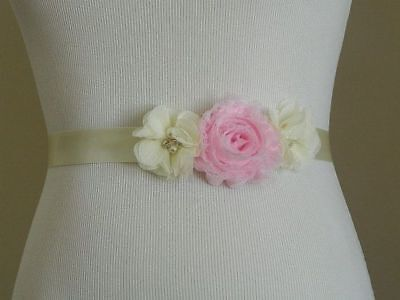 FLOWERGIRL DRESS SASH Vintage Belt Wedding Bridal Accessory Pink Ivory Satin