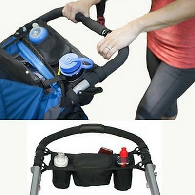 Hot Universal Baby Stroller Parent Console Organizer Double Cup Holder Mummy Bag