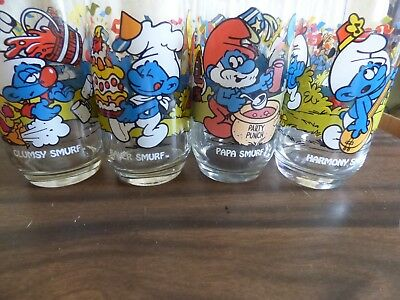 Vintage  Smurf glasses set of 10 1983