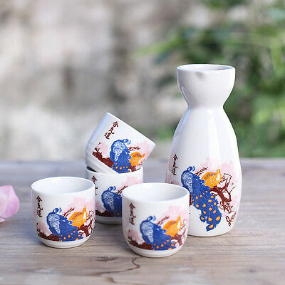 5 Pcs Japanese Sake Set Bottle Cups Peacock Bird Porcelain Painted Ceramic Craft