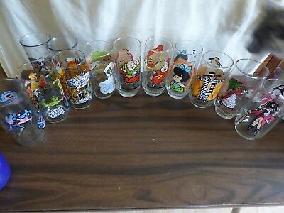 Vintage  assortment lot of fast food set of 9 glasses