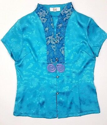 Vintage Medium Turquoise Silk Satin Embroidered Chinese Kimono Top Blouse
