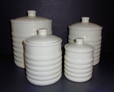 Mint Condition VINTAGE PREFERRED STOCK WHITE CERAMIC CANISTER SET Airtight Seal