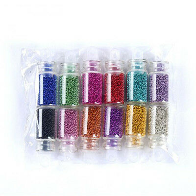 DIY UV Gel Set Caviar Nails Decor Micro Glitter Beads 12 Colors Nail Art