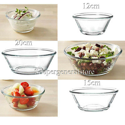 Clear Glass Serving Bowl Salad Baking Mixing Dessert Ice cream Sauce Spout Dish
