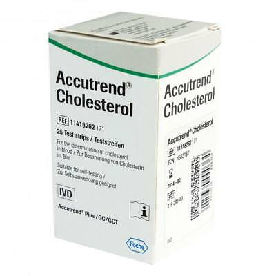 25 Test Strips Accutrend Cholesterol Blood Roche Control Plus Monitor