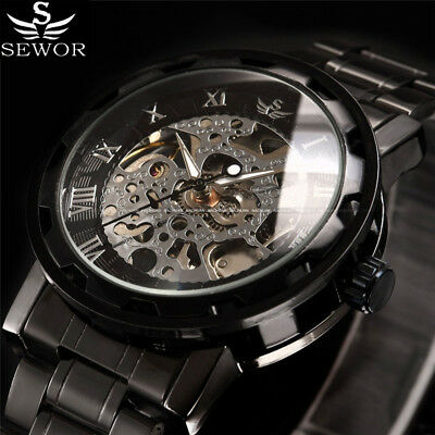 Luxury Brand SEWOR Men's Skeleton Stainless Steel Hand-Wind Mechanical Watches