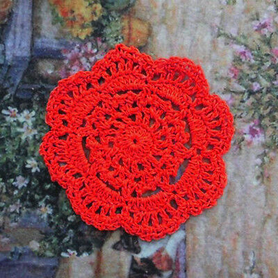 4Pcs/Lot Vintage Red Hand Crochet Lace Doilies Cup Coasters 4inch Round Cotton