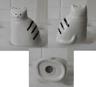 Adorable White w/ Black Stripes Kitty Cat Salt Shaker Collectible