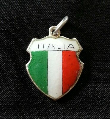 Vintage 800 Silver and Enamel Italy (Italia) Italian Flag Travel Shield Charm
