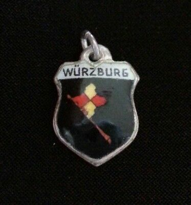 Vintage REU 800 Silver and Enamel Wurzburg Travel Shield Charm