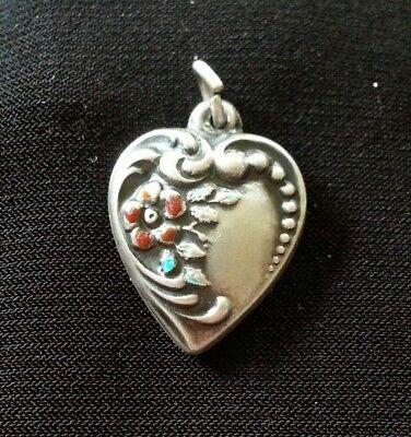 Vintage Sterling Silver and Enamel Repousse Floral Puffy Heart Charm