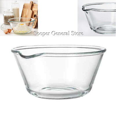Glass Serving Mixing Bowl Big Spout Food Cooking Pouring Clear Baking Dish 26cm