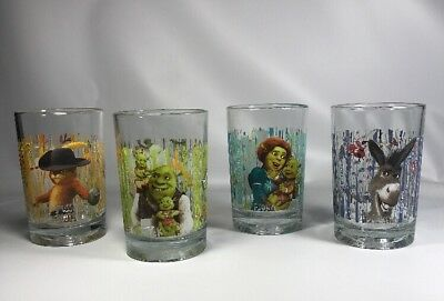 2010 Dreamworks Set of 4 McDonalds Shrek Forever After Tumblers Original