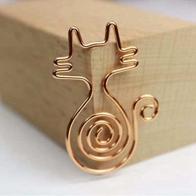 2X(Rose Gold 8pcs/box Kawaii Cat Paper Clips Bookmark Planner Tools ScrapboA4N9)