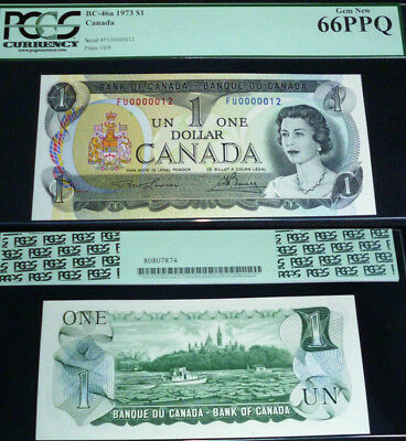 Low Serial Number 12 Bank Of Canada 1973 $1 Pcgs Currency Gem New 66 Ppq