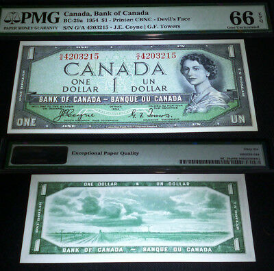 WORLD FAMOUS- DEVILS FACE BANKNOTE- BC-29a  BANK OF CANADA 1954 $1  PMG 66 EPQ