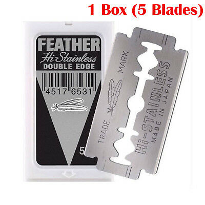 Feather Hi Stainless Steel Blades Double Edge Safety Platinum Coated Blade Razor
