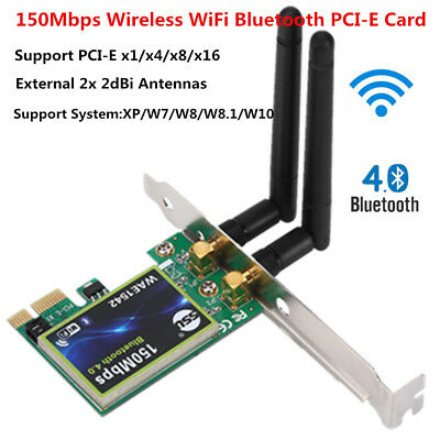Bluetooth 150M 2.4Ghz WiFi Wireless Network Card 150Mbps PCI-E For Laptop PC
