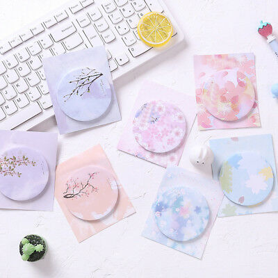 20pcs Flower Pattern Round Memo Pad Kawaii Stationery DIY Message Writing Note