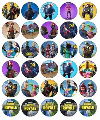"30 FORTNITE 1.5"" (35mm) EDIBLE CUPCAKE WAFER PAPER CAKE TOPPERS #3"