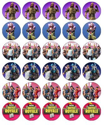 "30 FORTNITE 1.5"" (35mm) EDIBLE CUPCAKE WAFER PAPER CAKE TOPPERS #4"