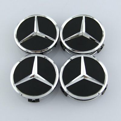 Mercedes 75Mm Black Wheel Centre Caps Original B Class Models