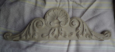 Antique French solid wooden pediment or fronton, pale grey