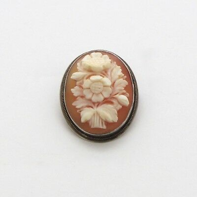 Antique Shell Cameo Brooch Flower Pendant Carved Carnelian Silver Bezel