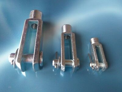 Clevis Pin And Fork End Long Joint M4 M5 M6 M8 M10 RH Zinc Plated Steel x1