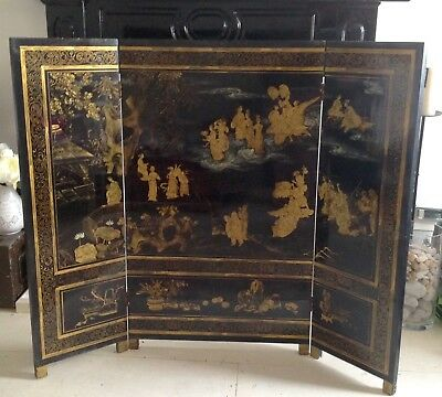 Antique Japanese Black/gold Lacquered 3 Panel Fire Screen Room Divider Deity Art
