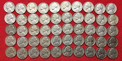 Lot of 1938-1961  Jefferson Nickels - 50 coins with one Silver War Nickel!