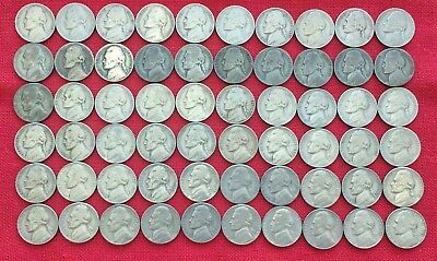 Lot of 1938-1961  Jefferson Nickels - 60 coins with all 11 Silver War Nickels!